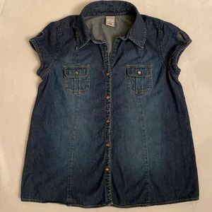 Old Navy Maternity Denim Collared Snap Top